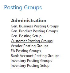 NAV Posting Groups