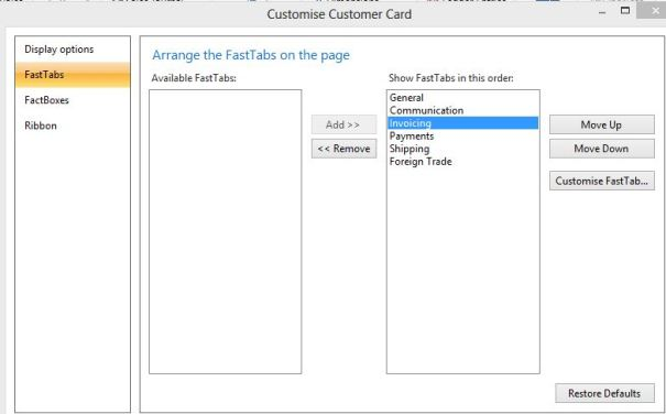 Customise customer card